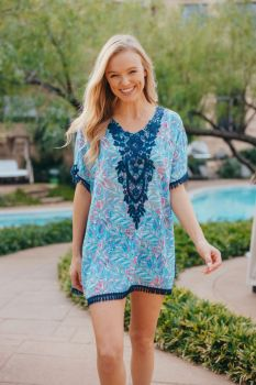 Simply Southern Abstract Beach Cover-Up - Aqua