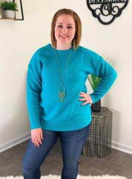 Shake It Off Basic Sweater - Turquoise