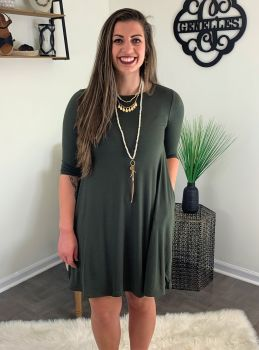 Set The Stage Dress - Olive