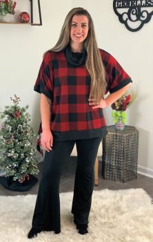 A Touch Of Plaid Top - Red/Black