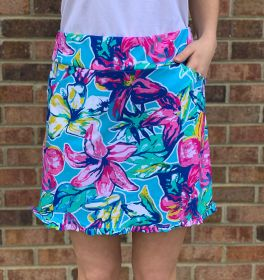 Floral Perfection Skirt - Sky Blue