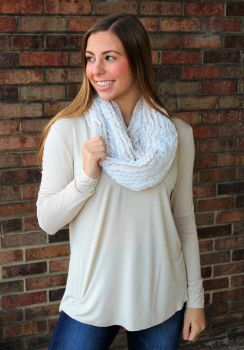 Beautiful New Day Short Infinity Scarf - Beige