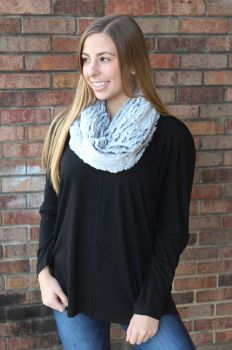 Beautiful New Day Short Infinity Scarf - Grey