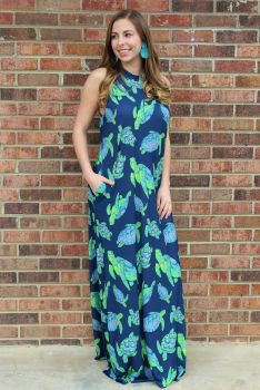 It's Turtle Time Dress - Navy