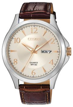Mens Stainless Steel With Leather Citizen Quartz Watch