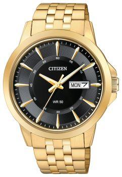 Mens Stainless Steel Gold Tone Citizen Quartz Watch