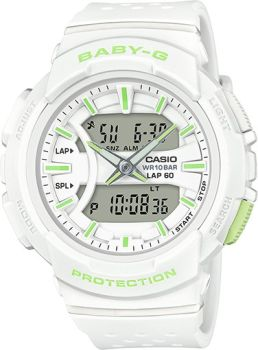 White Ana-Digital Runner Baby-G With Green Accents