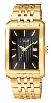 Mens Gold Tone Stainless Steel Black Dial Quartz Watch