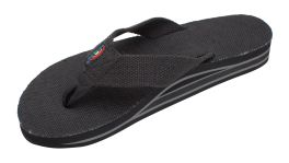 Ladies Size 11 Double Layer Black Hemp Rainbow Sandals