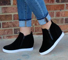 Back In My Life Wedge Sneaker - Black