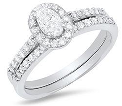 Ladies 10K White Gold Oval Diamond Engagement Set - 3/4CT