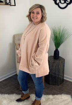 In My Comfort Zone Plus Sweatshirt - Blush