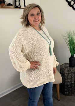 Cozy Nights Plus Sweater - Cream