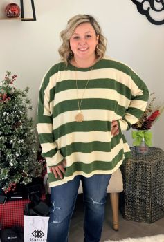 Simple In Stripes Plus Top - Olive/Ivory