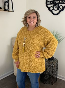 Cozy Nights Plus Sweater - Mustard