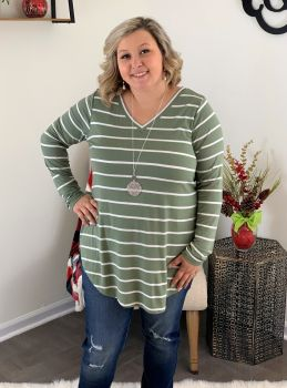 Stripes For The Win Plus Tunic - Olive/Ivory