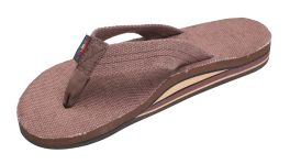 Ladies Size 11 Double Layer Brown Hemp Rainbow Sandals
