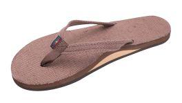 Ladies Size Small Narrow Strap Brown Hemp Rainbow Sandals
