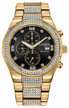 Mens Stainless Steel Gold-Tone Crystal Citizen Eco-Drive Watch