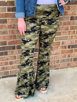 Right For Me Flare Pants - Camo