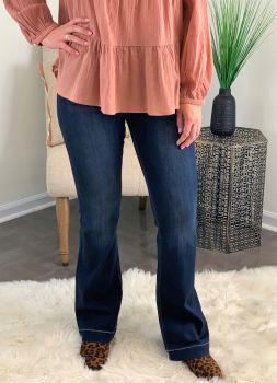 Let The Love In Flare Jeans - Dark Blue