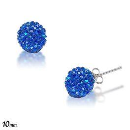 Sterling Silver Dark Blue Crystal Stud Earrings
