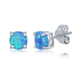 Sterling Silver Blue Opal Round Stud Earrings