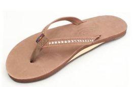 Ladies Size Large Dark Brown Crystal Rainbow Sandals