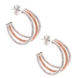 Frederic Duclos Sterling Silver Rose Plated Three Row Hoop Earrings