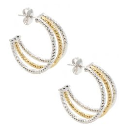 Frederic Duclos Sterling Silver Gold Plated Three Row Hoop Earrings