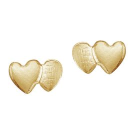 14k Yellow Gold Baby Double Heart Screwback Earrings