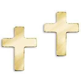 14k Yellow Gold Baby Cross Screwback Earrings