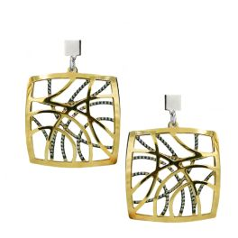 """Sterling Silver And Yellow Gold Plated """"Contempo"""" Earrings"""