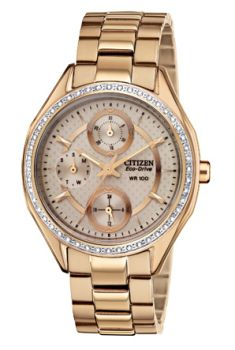 Ladies Rose Gold Swarovski Crystal Bezel Citizen Eco-Drive Watch