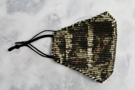 Adult Sequin Face Mask - Black & Gold