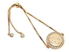 Sterling Silver Round CZ Bracelet - Gold Tone