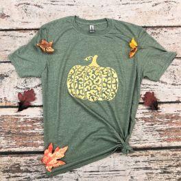 Fall Metallic Gold Pumpkin Tee - Olive
