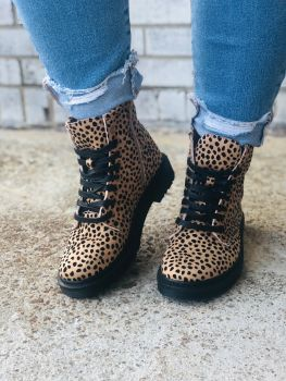 Know Your Worth Combat Boots - Cheetah Print