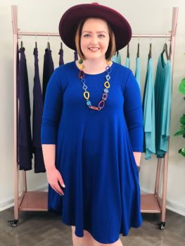 Keeping You Forever Dress In Plus - Denim Blue