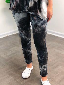 Summer Chillin' Pants - Grey and Purple Tie-Dye