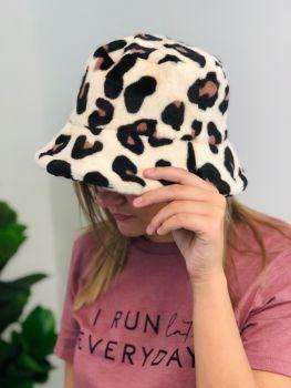 Heading Out Fuzzy Bucket Hat - Tan Leopard