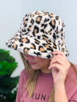 Heading Out Fuzzy Bucket Hat - Leopard