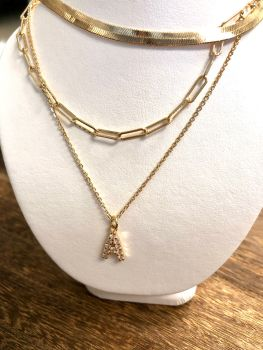 Triple Threat Initial Paperclip Necklace - Gold