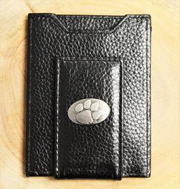 Clemson Black Leather Front Pocket Wallet