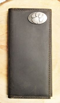 Clemson Brown Leather Roper Wallet