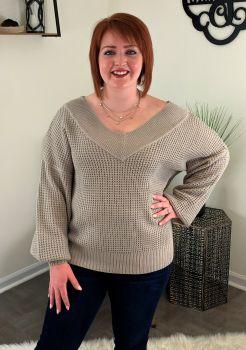 Talk That Talk Sweater - Light Grey