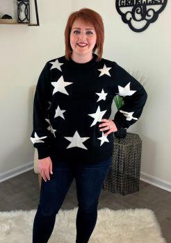 Patriotic Heart Sweater - Black/Ivory