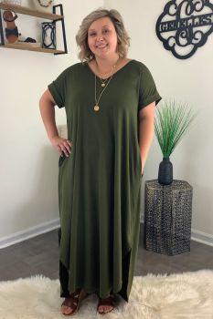 Living The Dream Plus Maxi Dress - Olive