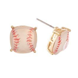 Team Captain Earrings - Gold Baseball