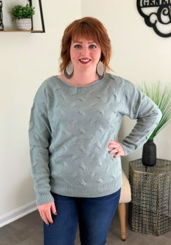Simply Southern Boatneck Sweater - Grey